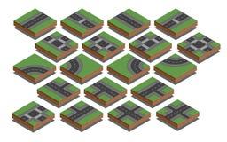 Elementos da estrada Jogo da criação do mapa da cidade Ilustração isométrica do vetor Imagens de Stock