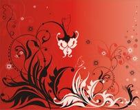 Elementos da flor do vetor no fundo vermelho ilustração do vetor