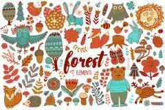 Elementos da floresta do vetor no estilo criançola da garatuja Foto de Stock Royalty Free