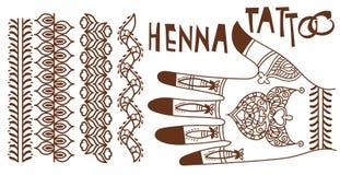 Elementos da garatuja da tatuagem da hena Ilustração Royalty Free