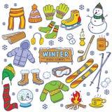 Elementos da garatuja dos invernos Foto de Stock Royalty Free