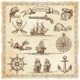 Elementos da ilustração do mapa do vintage do pirata Fotos de Stock Royalty Free
