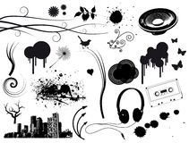 Elementos da música de Grunge Fotos de Stock Royalty Free
