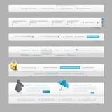 Elementos da navegação do molde do design web com ícones Foto de Stock Royalty Free