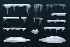 Elementos da neve Bola de neve e monte de neve, sincelos e beiras do snowcap Grupo isolado do vetor do inverno ilustração stock