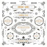 Elementos da onda das decorações do vintage Ornamento caligráficos clássicos, quadros, etiquetas Fotografia de Stock
