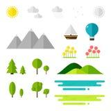 Elementos da paisagem no fundo branco Fotos de Stock Royalty Free