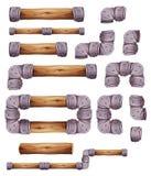 Elementos da pedra e da madeira do projeto para o jogo Ui da plataforma ilustração do vetor
