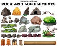 Elementos da rocha e do log Foto de Stock
