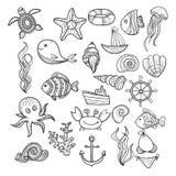 Elementos da vida marinha Fotos de Stock Royalty Free