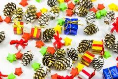 Elementos das decorações do ano novo e do Natal Fotos de Stock Royalty Free