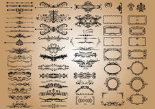 Elementos das decorações do vintage do vetor Ornamento e quadros caligráficos dos Flourishes coleção retro do projeto do estilo Imagens de Stock Royalty Free
