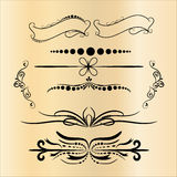 Elementos das decorações do vintage Ornamento e quadros caligráficos dos Flourishes Coleção retro do projeto do estilo para convi Fotos de Stock