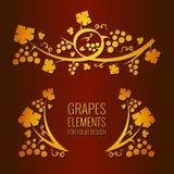 Elementos das uvas do vetor Imagem de Stock Royalty Free