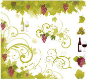 Elementos das uvas para vinho Fotos de Stock Royalty Free