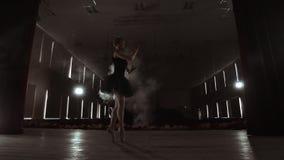 Elementos de baile de un ballet de la bailarina agraciada en la oscuridad con la luz y el humo en el fondo, cámara lenta almacen de metraje de vídeo