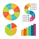 Elementos de Infographic adornados en diversos colores ilustración del vector