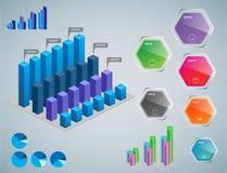 Elementos de Infographic - barra y l?nea cartas, infographics de la gente, diagramas, pasos/opciones, indicadores de progreso red ilustración del vector