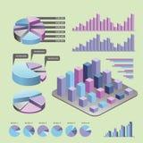 Elementos de Infographic - barra y l?nea cartas, infographics de la gente, diagramas, pasos/opciones, indicadores de progreso red stock de ilustración