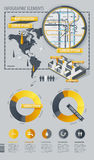 Elementos de Infographic com mapa de mundo e um mapa Fotografia de Stock Royalty Free