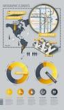 Elementos de Infographic con la correspondencia de mundo y una correspondencia Fotografía de archivo libre de regalías