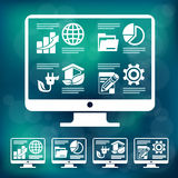 Elementos de Infographic en azul del monitorin libre illustration