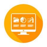 Elementos de Infographic en monitor en amarillo ilustración del vector