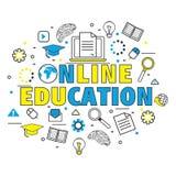 Elementos de Infographic para la educación en línea Imágenes de archivo libres de regalías