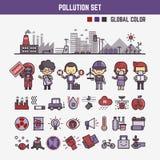 Elementos de Infographic para los niños sobre la contaminación Foto de archivo