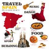 Elementos de Infographic para viajar à Espanha Fotos de Stock Royalty Free
