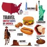 Elementos de Infographic para viajar aos EUA Fotos de Stock Royalty Free