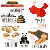 Elementos de Infographic para viajar a China Imagens de Stock