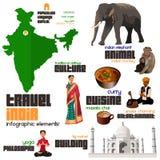 Elementos de Infographic para viajar a la India Imágenes de archivo libres de regalías
