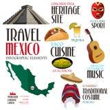 Elementos de Infographic para viajar a México Foto de Stock