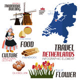 Elementos de Infographic para viajar a Netherland Imagens de Stock Royalty Free