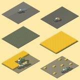 Elementos de Infographic que representan el trabajo en el terreno del sistema isométrico del icono de la maquinaria agrícola ilustración del vector