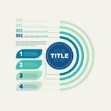 Elementos de Infographics Carta de torta, 4 etapas e encabeçamento do círculo Fotografia de Stock Royalty Free