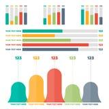 Elementos de Infographics Cartas de barra da cor Imagem de Stock