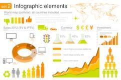 Elementos de Infographics con los iconos Fotografía de archivo