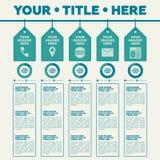 Elementos de Infographics 5 etiquetas com ícones e carta de torta Fotos de Stock Royalty Free