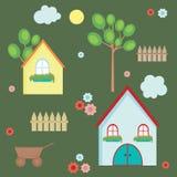 Elementos de la aldea stock de ilustración