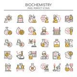 Elementos de la bioquímica, línea fina e iconos perfectos del pixel libre illustration