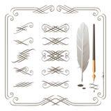 Elementos de la caligrafía Imágenes de archivo libres de regalías