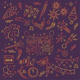 Elementos de la celebración del Año Nuevo del garabato stock de ilustración