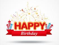 Elementos de la celebración del cumpleaños con la cinta roja Imágenes de archivo libres de regalías
