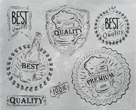 Elementos de la cerveza del diseño de la impresión del vintage. Carbón. Imagenes de archivo