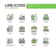 Elementos de la ciudad - línea iconos del diseño fijados
