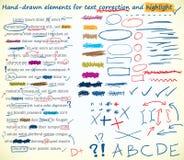Elementos de la corrección del texto ilustración del vector