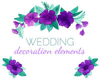 Elementos de la decoración de las flores de la púrpura del vector de la acuarela para casarse diseño Imagenes de archivo