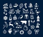 Elementos de la decoración de los objetos de la Feliz Navidad del invierno y de la Feliz Año Nuevo ilustración del vector